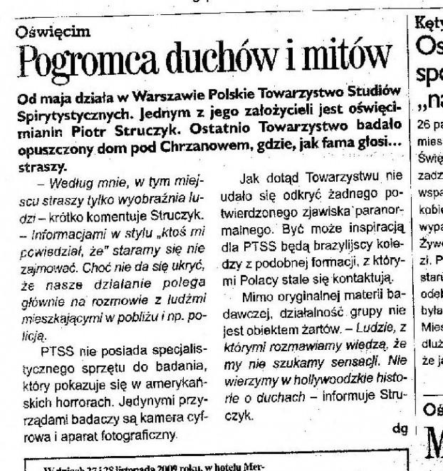 Kurier Oświęcimski o PTSS