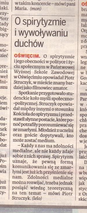 Gazeta Krakowska o wykładzie w PWSZ